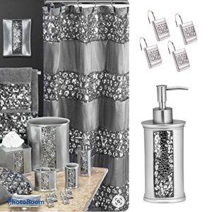 Silver Sequins Bath Set Glimmer 14 pieces